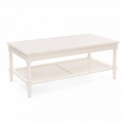 Klassiek design salontafel in hout en rotan Homemotion - Raino