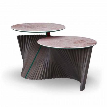 Luxe salontafel met 2 ronde bladen in Gres Made in Italy - Stockholm