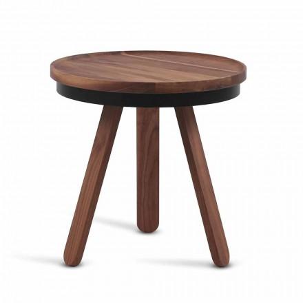 Design salontafel met rond blad en massief houten poten - Salerno