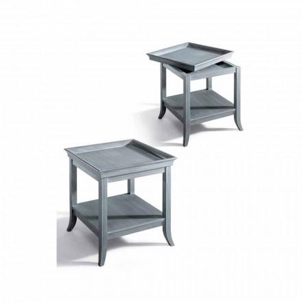 Salontafel ontwerp woonkamer in grijs gelakt hout, 60x60 cm, Marcus