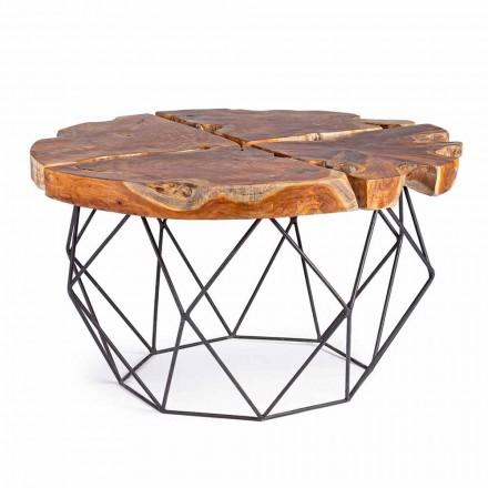 Homemotion Design salontafel met teakhouten blad - Grillo