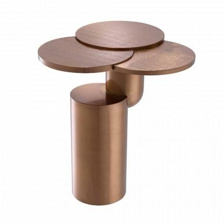 Design salontafel in geborsteld koper afgewerkt staal - Olbia