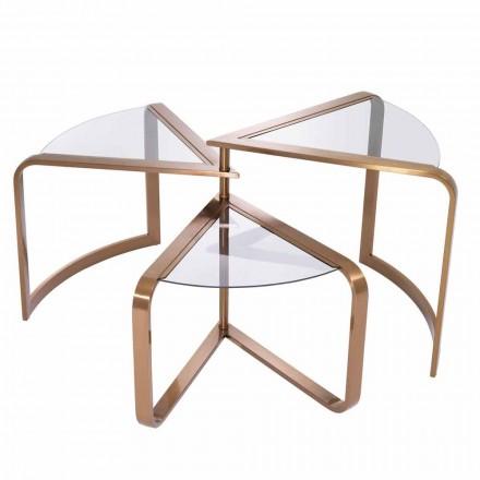 Design salontafel van glas met details in koperafwerking - Carpi