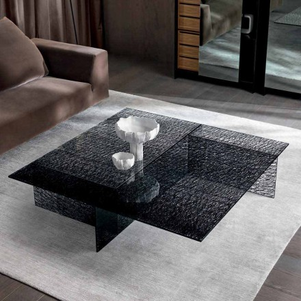 Design salontafel Extralight gedecoreerd glas gemaakt in Italië - Sestola