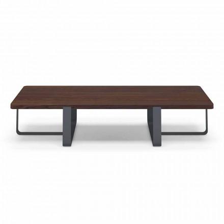 Luxe salontafel in gekleurd metaal en houten blad - Anacleto