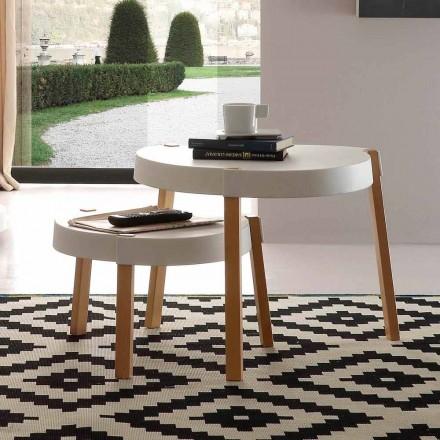 Salontafel in beuken stoelen met witte polypropyleen Pineto