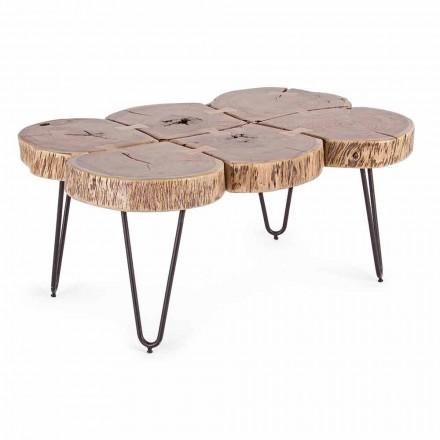 Salontafel in acaciahout en Homemotion geverfd staal - Havana