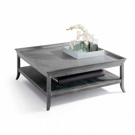 Salontafel in zilver gelakte houten lounge, L130xP130 cm, Berit