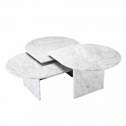 Salontafel in Wit Carrara Marmer Formaat van 3 Stuks - Marsala