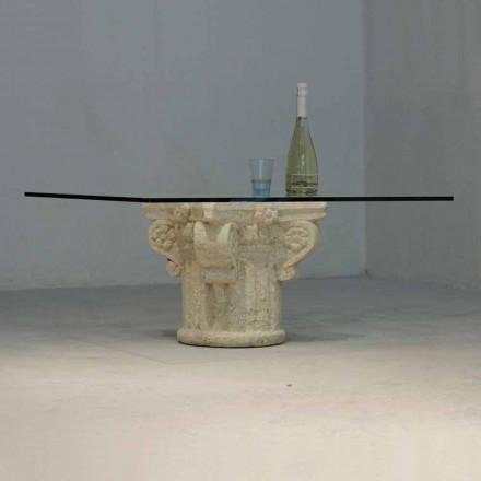 Vicenza stenen salontafel en met de hand gesneden Balos-kristal