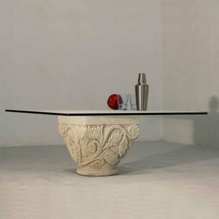 Handgesneden tafel in Vicenza Stone en Mytros-kristal