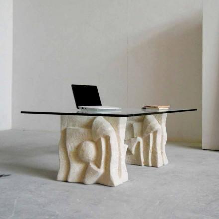 Vicenza stenen salontafel en Priamo-S kristal, met de hand gesneden