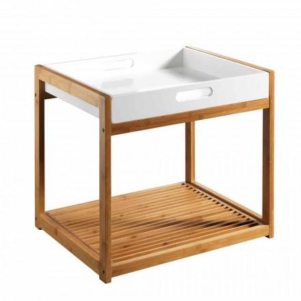 Moderne Salontafel van Bamboehout met Dienblad van Wit Mdf - Volly