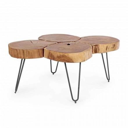 Homemotion moderne salontafel in hout en geverfd staal - Severo