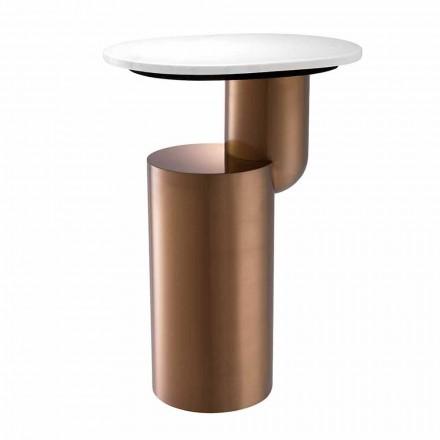 Moderne salontafel in wit marmer met onderstel in koperafwerking - Cosenza
