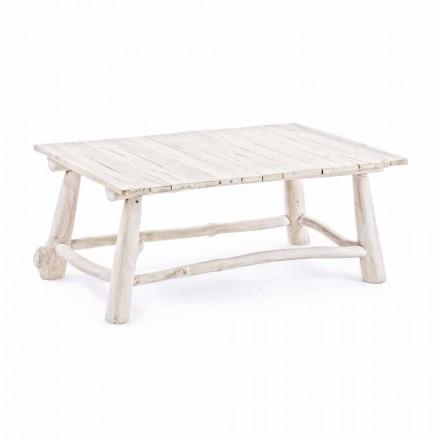 Homemotion Moderne salontafel in gebleekte teaktakken - Bambo