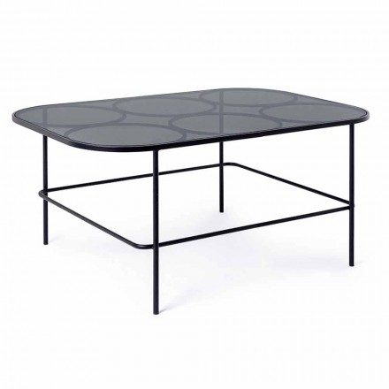 Homemotion Moderne salontafel van glas en geverfd staal - Rondino