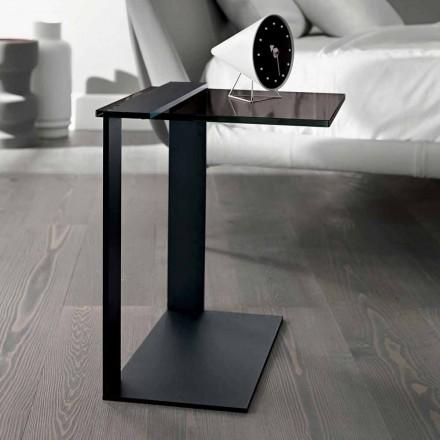 Moderne salontafel van metaal en gerookt of helder glas gemaakt in Italië - Teilor