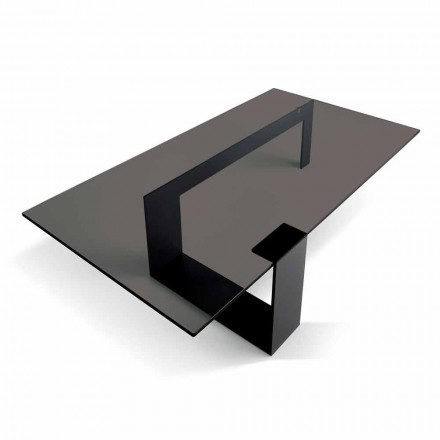 Moderne salontafel met gerookt glazen blad en metalen onderstel gemaakt in Italië - Scoby