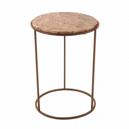 Moderne ronde salontafel van metaal en hoogwaardig marmer - Raphael