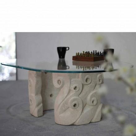 Ovale salontafel in Vicenza steen en kristal, met de hand gesneden Lindos