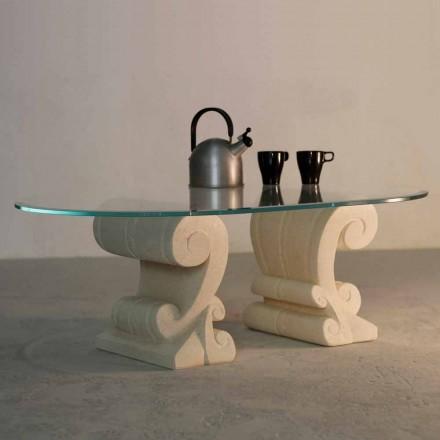 Ovale salontafel met de hand gesneden Vicenza steen en Aracne-S kristal