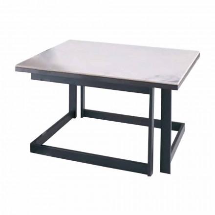 Vierkante salontafel in Gres met metalen onderstel Made in Italy - Albert