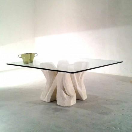 Vierkante Vicenza stenen salontafel en met de hand gesneden kristal Kos