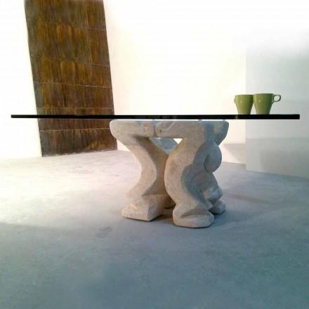 Vierkante tafel met de hand gesneden in Vicenza Stone Medusa-S