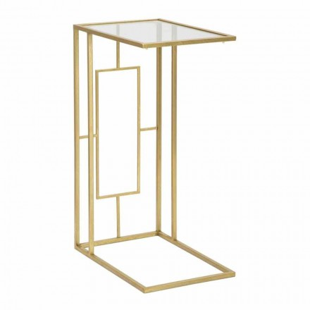 Rechthoekige salontafel in ijzer en modern glas - Albertino