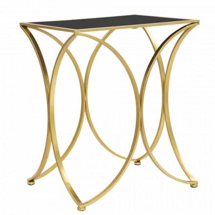 Moderne rechthoekige salontafel in ijzer en spiegel - Amice
