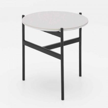 Moderne design keramische en metalen ronde salontafel - Gaduci