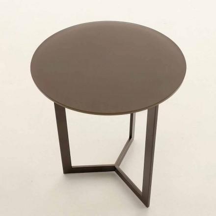 Ronde salontafel met kristallen blad Made in Italy - Indio