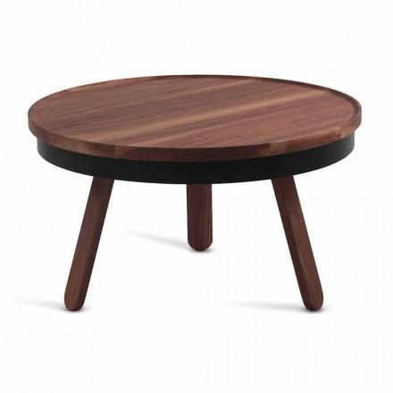 Ronde design salontafel in massief hout en metaal - Salerno