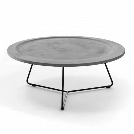 Ronde salontafel van beton en zwart metaal Made in Italy - Evolve