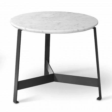 Ronde marmeren salontafel met metalen onderstel Made in Italy - Juliana