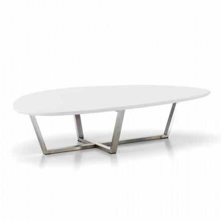 Modern gevormde loungetafel met witte MDF-top - klaar