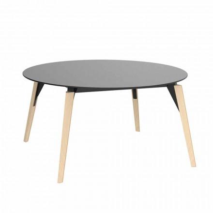 Ronde houten salontafel en HPL-blad in 2 maten - Faz Wood van Vondom
