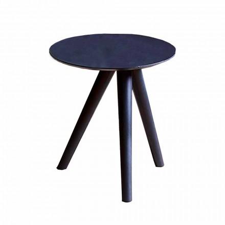 Ronde salontafel in zwartgrijs gelakt hout Made in Italy - Stuttgart
