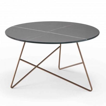 Ronde metalen salontafel met glazen blad met marmereffect - Magali