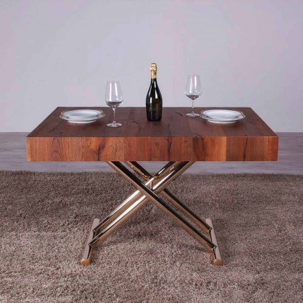 Transformerende salontafel in hout en metaal Made in Italy - Patroclo