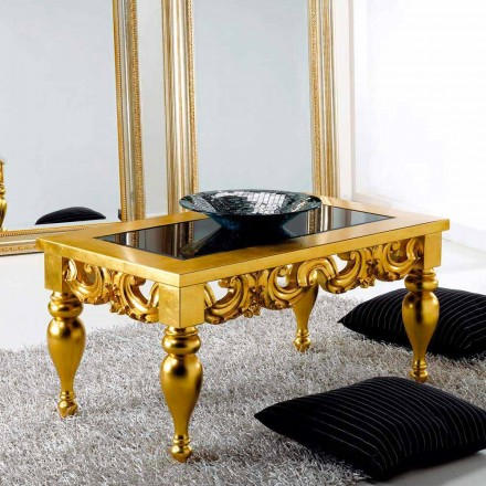 Coffee Table klassiek design in Lof hout, gouden afwerking