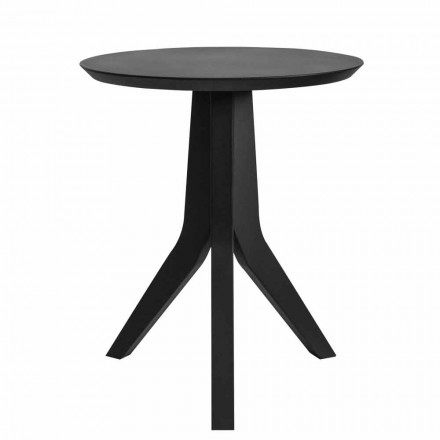 Moderne ronde design salontafel van zwart gelakt hout - Sperone