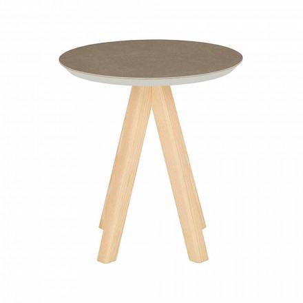 Ronde salontafel in de woonkamer in essenhout en keramisch blad - Amerigo