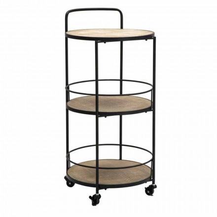 Modern design salontafel in ijzer en MDF met wielen en 3 planken - Lennox