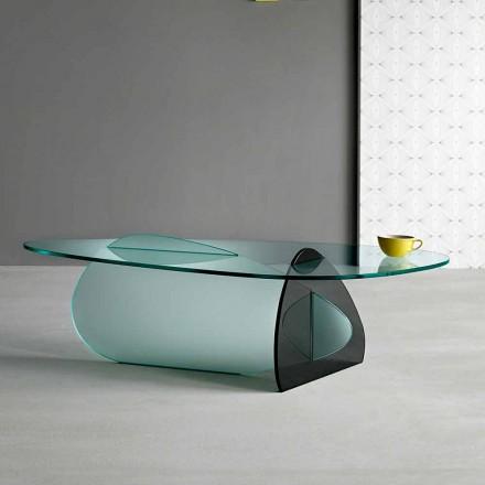 Design salontafel in transparant, gerookt en geëtst glas gemaakt in Italië - Tac Tac