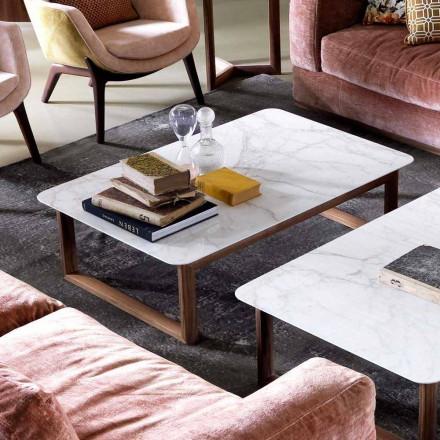 Grilli York design massief houten en marmeren salontafel gemaakt in Italië