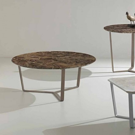 Ronde salontafel gemaakt van emperador marmer, modern design, Adone
