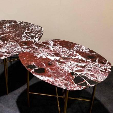 Designtafel in Levanto rood marmer en metaal, gemaakt in Italië - Morbello