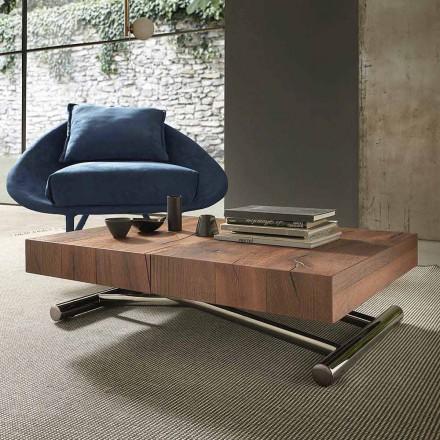 Moderne transformeerbare salontafel in hout en metaal, gemaakt in Italië - Spirit